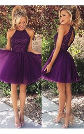 Rhinestoned Short Homecoming Purple Elegant High-Neckline Gown