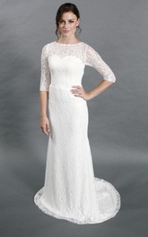 Lace Short-Sleeves Column Simple-Inspire Bridal Dress