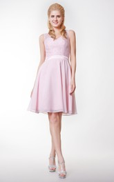 Lace V-Neckline Short Chiffon Bridesmaid Dress