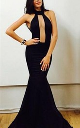 Sexy Black High-Neck Mermaid Prom Dresses Floor Length Evening Gowns