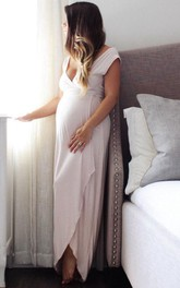 Plunged Cap-sleeve Front-split Pencil long maternity Dress