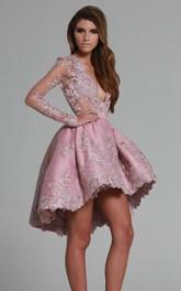 Party Lace Applique Long-Sleeves A-Line Dress