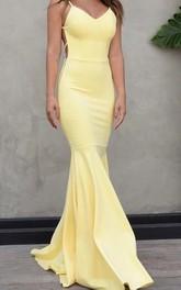 Spaghetti V-neck Taffeta Sleeveless Floor-length Backless Formal Dress with Pleats