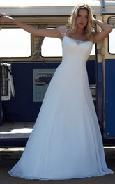 beach Queen Anne A-line Chiffon Satin Wedding Dress With Beading And Illusion