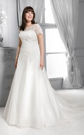 Bateau Short Sleeve Lace A-line Satin plus size wedding dress With Appliques And Sweep Train