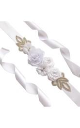 Floral Royal Satin Belt With Sequins