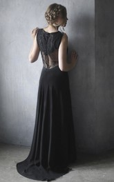 Elegant Sheath Lace Chiffon Sleeveless Wedding Gown With Illusion Back And Buttons