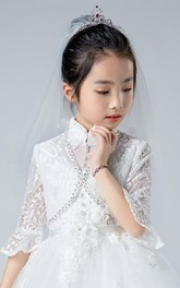 Simple Style Double Layer Floral Tulle Flower Girl Veil