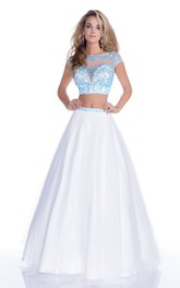 Cap-Sleeve Jeweled Lace-Bodice Crop-Top A-Line Tulle Gown