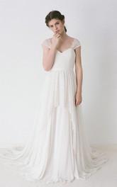A-Line Lace-Up Back V-Neckline Cap-Sleeve Lace Gown