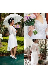 V-neck Lace Illusion 3/4 Length Sleeve Wedding Dress