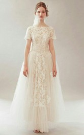 Tulle Bateau-Neckline Vintage Bridal Dress