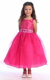 Floral Jewel Tea-Length Tulle Flower Girl Dress