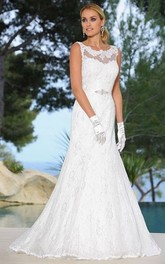 Scoop-neck Sleeveless Trumpet Wedding Dress With Appliques And Keyhole