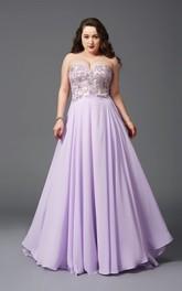 A-line Floor-length Sweetheart Sleeveless Chiffon Appliques Pleats Backless Dress