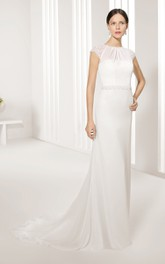 Cap-Sleeved Keyhole-Back Jewel-Neck Column Dress