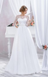 Scoop-neck Illusion 3-4-sleeve A-line Tulle Wedding Dress With Corset Back