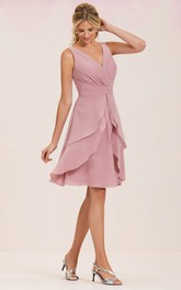 V-neck Sleeveless Chiffon short Dress With Tiers And Low-V Back