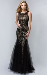 Trumpet Jeweled Scoop-Neck Sleeveless Lace Tulle Low-V-Back Dress