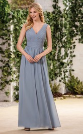 Plunged Chiffon Sleeveless Long Dress With Ruching