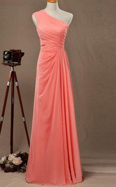 One-shouldered Sleeveless Dress With Ruched Bodice