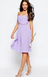 A-Line Knee-Length Sleeveless Pleated Spaghetti Chiffon Bridesmaid Dress