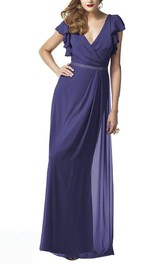 Poet-sleeve Plunged Chiffon side-draped Floor-length Dress