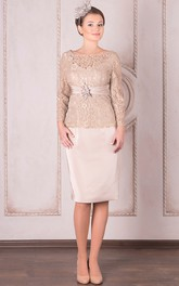 Bateau Lace Long Sleeve Knee-length Dress With Zipper