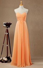 Sweetheart Criss-cross ruched Chiffon Floor-length Bridesmaid Dress