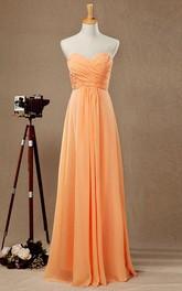 Sweetheart Criss-cross ruched Chiffon Floor-length Bridesmaid Dress