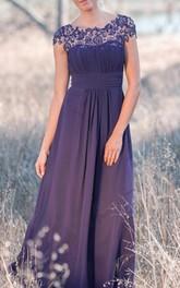 A-Line Back Keyhole Cap-Sleeve Illusion Long Dress
