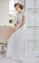 Scoop-neck Short Sleeve Tulle Floor-length Dress With Lace