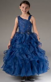Organza Crystals Strapped Asymmetric Flower Girl Dress