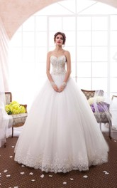 Sweetheart Tulle A-line Ball Gown Wedding Dress With Corset Back And Beading