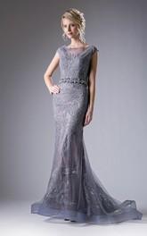 Column Ruffled Appliqued Bateau Cap-Sleeve Illusion Lace Dress