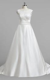 Satin Lace Top Cap-Sleeve Bateau-Neckline Dress