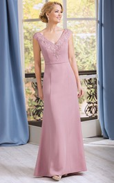 Appliqued Jewels Cap-Sleeved V-Neckline Mother Of The Bride