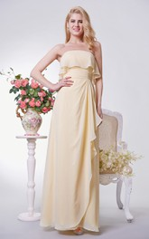 Strapless Chiffon Empire Bridesmaid Dress  side Draping