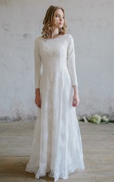 Modest Lace Scoop Neckline Wedding Dress