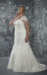 V-Neckline Lace Low-V-Back Floor-Length Trumpet Sweep-Train Cap Dress