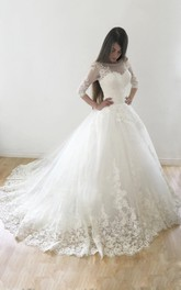 Tulle Button Satin Ball-Gown Princess Wedding Lace Dress