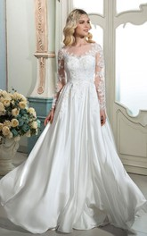 Elegant A-line Lace Ethereal Bridal Gown With Illusion Long Sleeves And Buttons Back