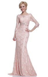 Column Jeweled Full-Length Scoop-Neck Lace Half-Sleeve Brush-Train Dress