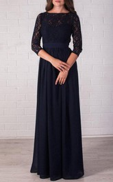 Bateau Lace 3-4-sleeve Chiffon Long Dress