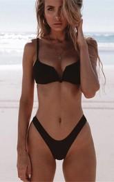 Plain Spaghetti High-Cut Bikini Set Swimsuit