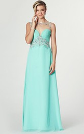 Bateau Sleeveless Chiffon Ruched Dress With Beading And Illusion back