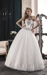 Sweetheart Corset Back Lace Strapped A-Line Tulle Dress