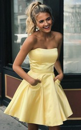 Strapless Sweetheart Satin Sleeveless Short Homecoming Dress with Pockets and Ruching