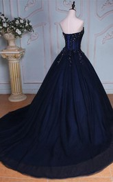 Sweetheart Lace Tulle Sleeveless Bell Appliqued Jeweled Corset Ball Gown