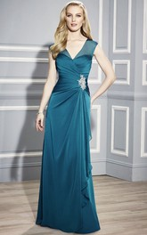 Draping V-Neckline Sleeveless Mother Of The Bride